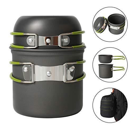 MEYUEWAL Picknick Topf Camping Kochgeschirr Campinggeschirr Tragbar Rucksackreisen Outdoor Wandern Mini Cookware Set (Topf)