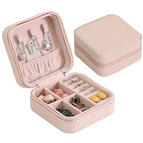 Liangzai Joyero, 2 uds.Caja portátil de Almacenamiento de Joyas para Mujer de una Sola Capa de PU, Utilizada para Almacenamiento de Anillos, Pendientes, Collares y Joyas pequeñas