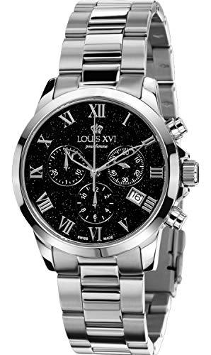 LOUIS XVI Damen-Armbanduhr Athos Pour Femme Stahlband Silber Schwarz Stars Edition Silver Chronograph Analog Quarz Edelstahl 567