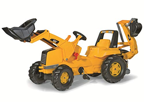 rolly toys CAT Construction Pedal Tractor: Backhoe Loader (Front Loader and Excavator/Digger), Youth...