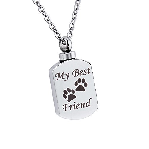Free Engraved My Best Friend Pet Paw Urn Pendant Necklace Dog/Cat Funeral Ashes Keepsake Casket