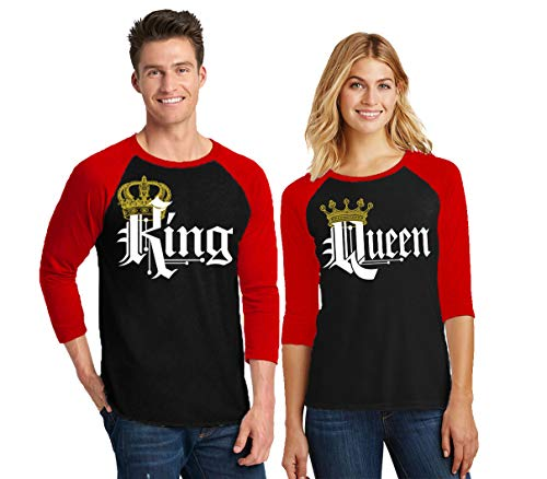 King and Queen Baseball Shirts Couple Matching Raglan 3/4 Sleeve T-Shirts-Black/Red-X-Large-(Queen ONLY)