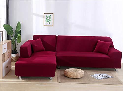 YANJHJY 1 Fundas elásticas de Licra de Color sólido para sofá, para Sala de Estar, Fundas seccionales de Licra de Color sólido para Esquinas, Fundas de sofá, Rojo Vino, 1, Asiento y 2, Asiento