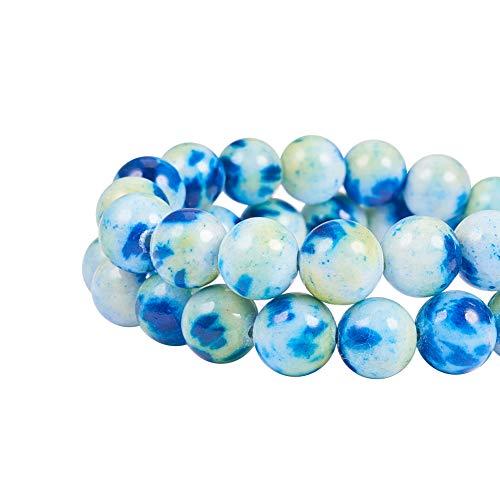 NBEADS Cuentas de Jade Redondas Naturales de 10 mm, 40 Piezas, para Hacer Joyas, Piedras, Azul