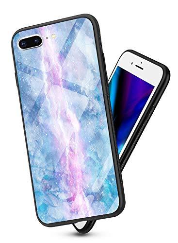 Oihxse Colorido Gradual Cristal Estilo Case Compatible con iPhone 6 Plus/iPhone 6S Plus Funda Vidrio Templado Trasera Carcasa Borde de Silicona Suave Protectora Ultra Fino Anti-arañazos