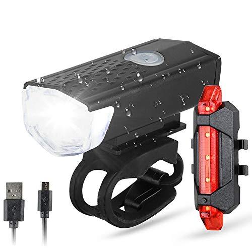 PINPOXE LED Fahrradlicht Set, Fahrradlampe, Zugelassen USB Aufladbar Fahrradbeleuchtung, IPX5 Wasserdicht Fahrradlicht Vorne Frontlicht& Rücklicht Set