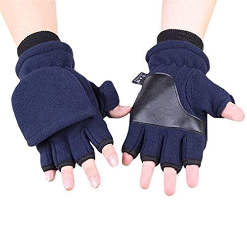 Invierno guantes cálidos mujeres invierno polar vellón medio finger guantes flip dobles capa espesar pantalla táctil sin dedos convertible mitones muñequere de muñequeras for esquiar camping senderism