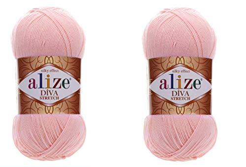 Alize Diva Stretch-Garn, Handstrickgarn, 200 g, 2er-Pack 363