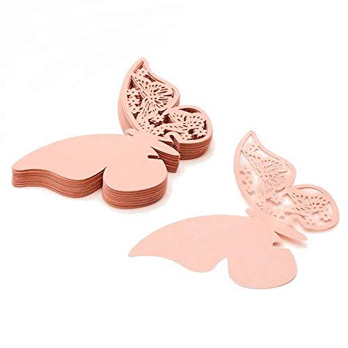 ElecMotive 100 Stück Schmetterling Tischkarten Namenskarten Glasanhänger Wandsticker für Tischdeko Hochzeit Party Haus Deco