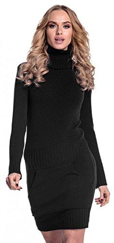 Glamour Empire. Damen Strickkleid Minikleid mit Stehkragen und Tasche vorne. 178 (Schwarz, 36-38, ONE Size)
