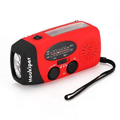 Multifuncional de Emergencia Manivela Auto Alimentado/Solar Powered Am/FM Radio LED Linterna con Cargador de teléfono Banco de energía (Rojo)