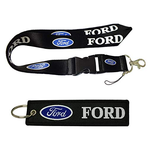 Cview Premium Quality Lanyard & Key Chain Tag for Car,Truck, SUV, Motorcycle, Scooter, ATV, UTV, RV, House Keys, Office ID, Fashion Accessories, Gifts Work with (Ford)
