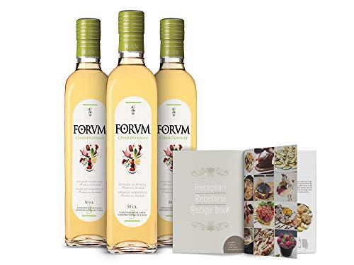 Forvm Chardonnay, Vinagre de Vino Blanco, Fantástico para Cocinar, Usado 12 Años en el Menú de los Premios Nobel, Envejecido Artesanalmente 3 Años en Barricas, Producción Limitada, Bot. Cristal, 500ml
