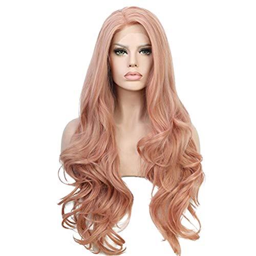 Longo cacheado capa de cabelo festa testa renda peruca de cabelo requintado para mulheres meninas (rosa)