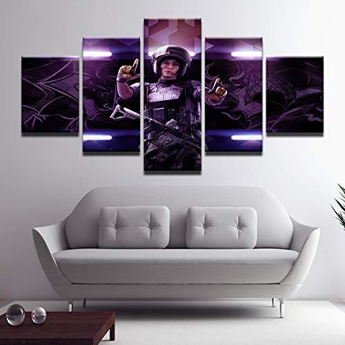 ZY Leinwanddruck Wandgemälde,Top Heiß Spiel Tom Clancy's Regenbogen Sechs Belagerung Gemälde Segeltuch Wandkunst 5 Panel Bild Home Deco Poster,B,40x60x2+40x80x2+40x100x1