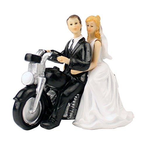 OULII Brautpaar als Tortendeko Hochzeitstorte Topper Tortenfigur Hochzeitspaar auf Motorrad