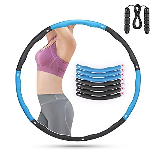 ioutdoor Hula Hoop Reifen Abnehmbarer mit Springseil,Hula Fitness Reifen 7 Abschnitt für Erwachsene Kinder anfänger,Hoola Hoop für Gewichtsreduktion abnehmen Gym Workout Massage (Blau Grau)