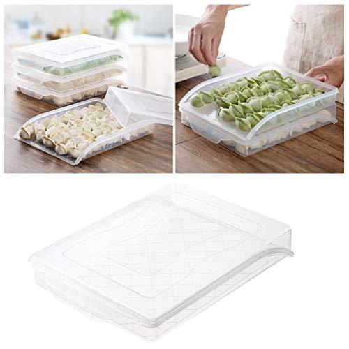 Mobestech 1Pc Koelkast Organisator Bakken Doorzichtige Plastic Knoedels Houder Stapelbaar Voedsel Organisator Lade Voor Thuis Keuken Vriezer