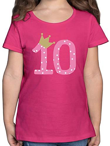 Geburtstag Kind - 10. Geburtstag Krone Mädchen Zehnter - 152 (12/13 Jahre) - Fuchsia - Geburtstag 10 Jahre mädchen - F131K - Mädchen Kinder T-Shirt