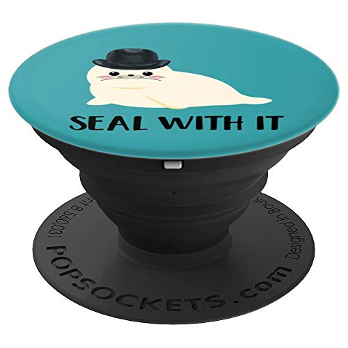 Seal With It Pun Cute White Harp Sea Lion Top Hat on Blue PopSockets Grip and Stand for Phones and Tablets