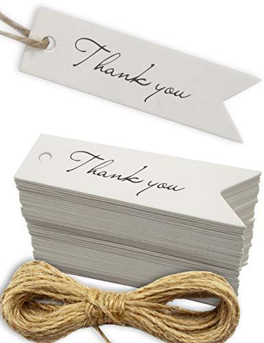 HOMETOOLS.EU® - 100 Kraft-Papier, Karton, Geschenk-Anhänger, Papier-Anhänger, Papier-Schilder, Label, Papp-Schildchen, 7 x 2 cm, mit 10m Jute-Schnur, Danke, Thank You, Dankeschön, weiß