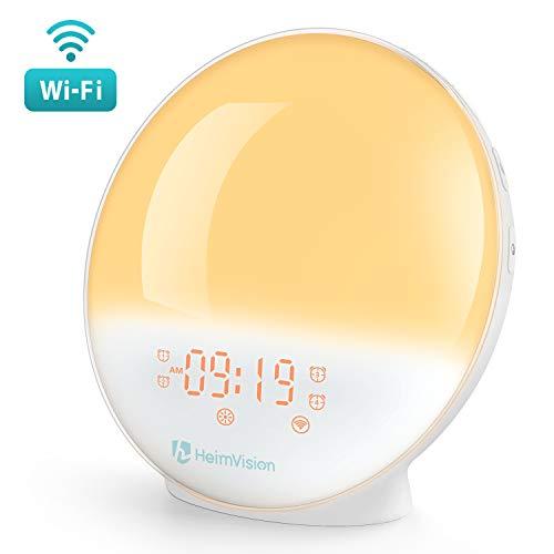 WiFi 目覚まし時計 光 目覚ましライト スマート時計 Alexa/Google homeで制御 デジタル時計 スヌーズ機能 ...