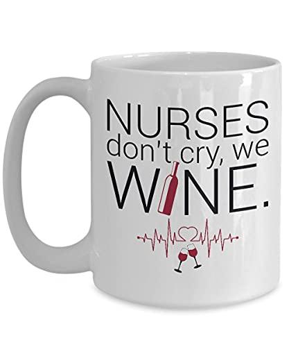 Taza de café Nurses Don't Cry We Wine, Enfermera, Future Nurse Gifts, Taza de Enfermera, Enfermera, Regalo de Enfermera, Taza de té de doble cara de 11 oz