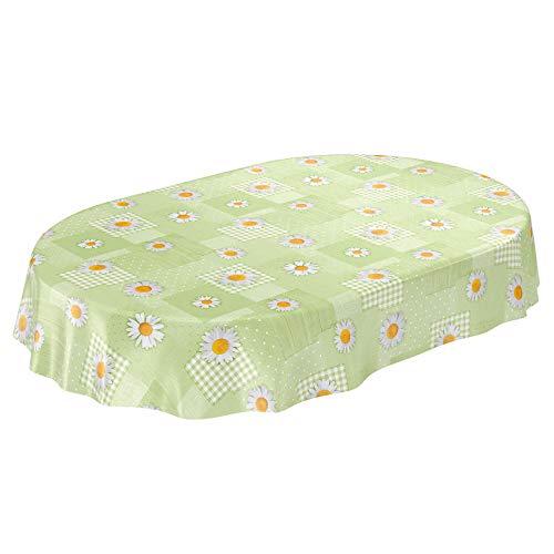 ANRO Wachstuchtischdecke Wachstuch Wachstischdecke Tischdecke Kamille Patchwork Grün Oval 180x140cm