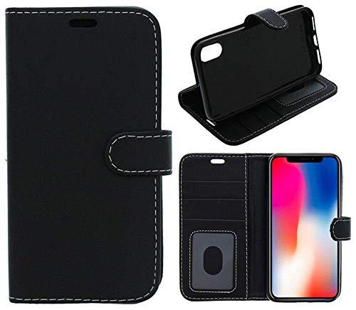 FoneJacket Funda para Xiaomi Mi Mix 3 5G Teléfono Funda, Flip Book, Billetera, Folio, Cuero y Gel - Negro