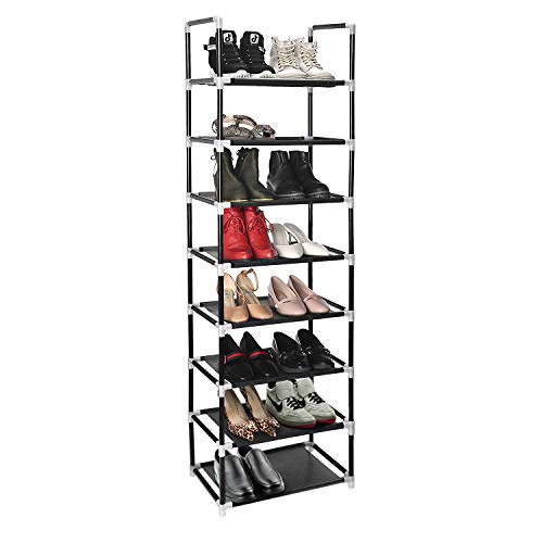 ERONE Shoe Rack Organizer 8 Tiers Stackable and Durable Shoe Shelf Storage 16 Pairs Metal Shoe Tower Space Saving 18quot x 119quot x 577quotBlack