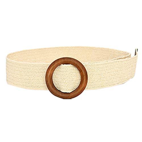 Cinturón de rafia de paja para mujer, hecho a mano, elástico, elástico, con hebilla de madera, para vestido de verano, falda corta, estilo bohemio, estilo hobo Blanco Redondo-beige Talla única