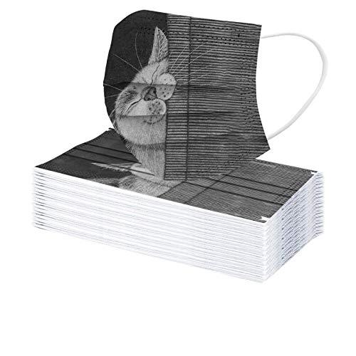 Rabbiter 30 Stück Mundschutz mit Motiv Erwachsene Einweg Katze Drucken Mund Nasenschutz 3 Lagig Staubdicht Atmungsaktiv Bandanas Halstuch für Damen Herren