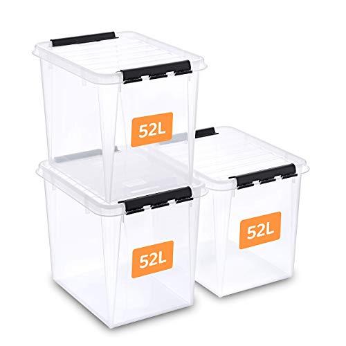 SmartStore aufbewahrungsbox mit deckel, 52 l, 3er-Pack, verstärkt, groß, transparent, für Lebensmittel geeignet, mit Clipverschluss, stapelbar, BPA-freies Plastik, 50 x 39 x 41 cm (L x B x H)