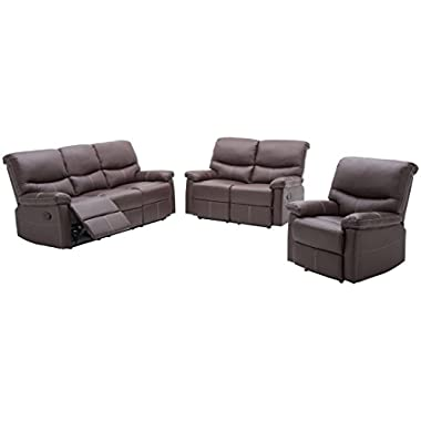 3PC Motion Sofa Loveseat Recliner Set Living Room Bonded Leather Furniture