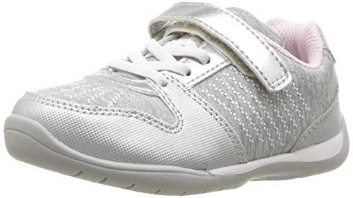 Stride Rite Girls' Avery Sneaker, Silver, 1 M US Little Kid