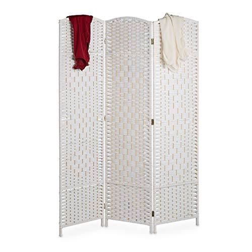 Relaxdays Paravent Raumteiler, HxB: 170 x 120 cm, Faltbarer Raumtrenner, 3-teiliger Sichtschutz, Holz & Papierseil, weiß