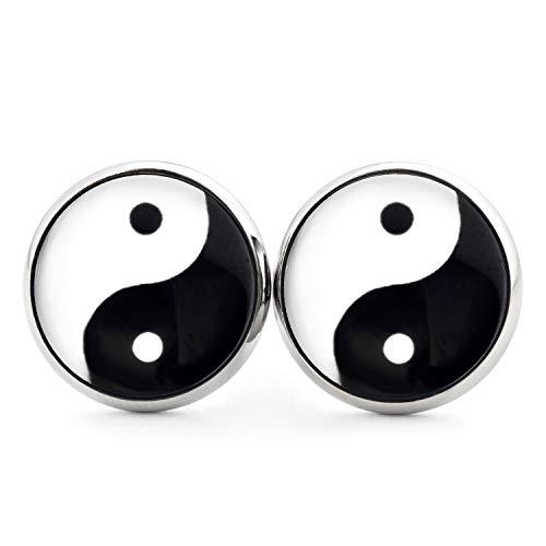 SCHMUCKZUCKER Damen Mädchen Ohrstecker Motiv Yin Yang Edelstahl Ohrringe Silber Schwarz Weiß 14mm