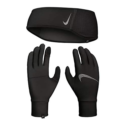 Nike Damen Womens Essential Stirnband und Handschuhe, Black/Black/Silver, XS/S