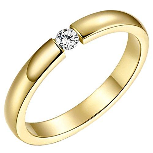 Aienid Schmuck Damen Ring Edelstahl Zirkonia Klassisch Gold Engagement Ringe 3mm Größe 57 (18.1)