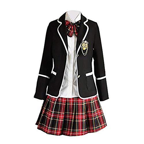 Schuluniform Cosplay Mädchen Rock Jacke Hemd (XS, 4)