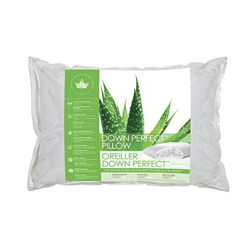 Canadian Down & Feather Co - 2 Pack Medium Support Down Perfect Pillow Standard Size - 255 TC Shell 100% Cotton - Filled in Canada
