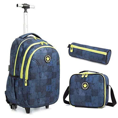 Sac à Dos roulettes, Sac Roulette Primaire Durable Cartable Trolley Bag Grande Capacité Sac d école pour Garçons Filles élèves 4 Roues