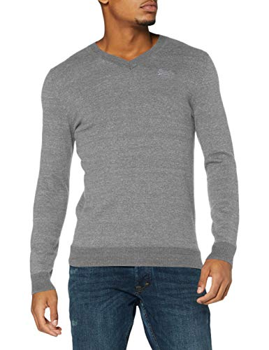 Superdry Mens ORANGE Label VEE Neck Pullover Sweater, Jersey Grey Marl, Large