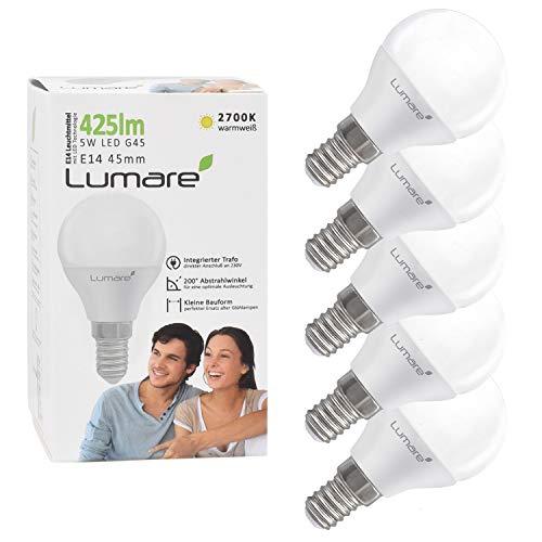 Lampadina a LED Lumare kit da 5 versione E14 G45 da 5W sostituisce una lampadina da 40W lampadina da 425lm, calda luce bianca da 2700K Classe energetica A+
