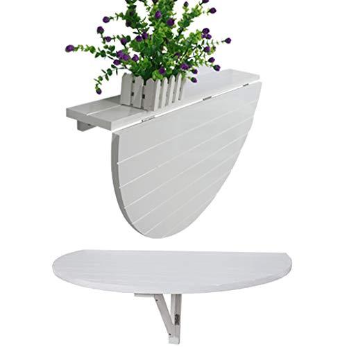 GETZ MSYO Wandklapptisch Holz Wandtisch Klappbar Massivholz Klapptisch Wandtisch Wandklapptisch Halbrund Klappbarer Esstisch Schreibtisch Platzsparend - Weiß (80 X 52 cm)