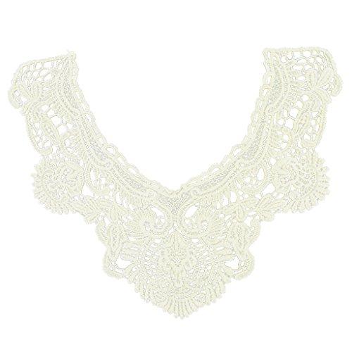Collar Cuello Encaje Algodón Beige Flor Costura Bordado para Vestido Mujer