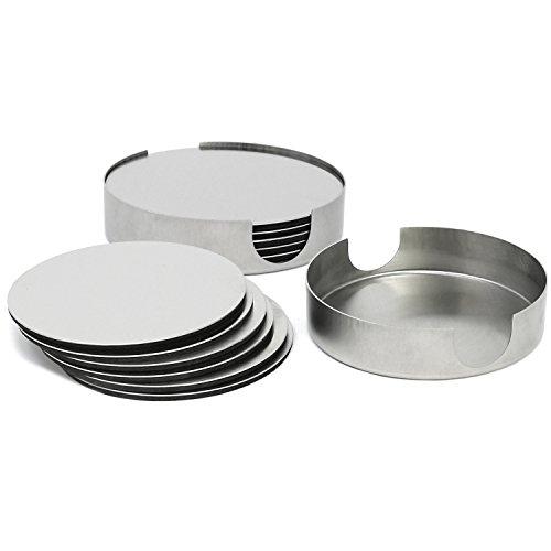 com-four® 14-teiliges Untersetzer Set aus rostfreiem Stahl, Getränkeuntersetzer mit Halter, Ø 10 cm (014-teilig - rostfreier Stahl)