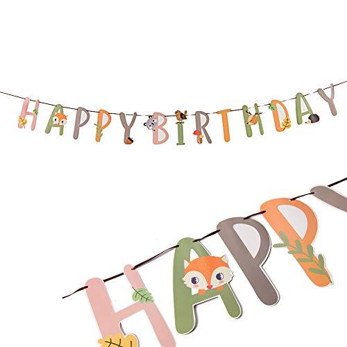 SUNBEAUTY Kindergeburtstag Girlande Happy Birthday Tiere Banner Kinder Geburtstag Safari Dekoration Wald Tier Party Kindertag Accessoires