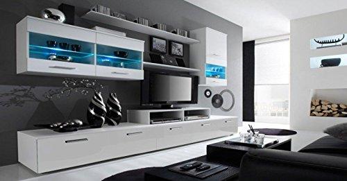 Home Innovation - Mobile Soggiorno - Parete da Soggiorno moderno con LED, Bianco Mate e Bianco Laccato, dimensioni: 250 x 194 x 42 cm di profondità.