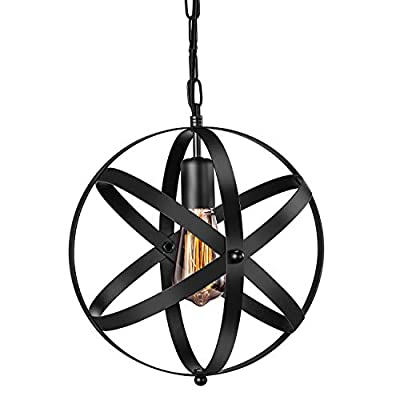 Industrial Pendant Light, Vintage Spherical Pendant Light Fixture with 39.3 Inches Adjustable Metal Chain 1 Pack